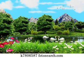Lake in the countryside with white