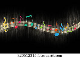 Music Notes on Black Background