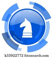 chess horse blue glossy circle modern web icon