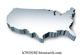 United States blank 3D map