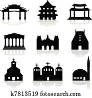 various temple and church illustrat
