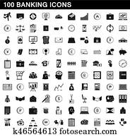 100 banking icons set, simple style