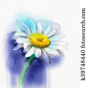 Abstract watercolor painting white gerbera, daisy flower