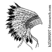 Native american indian chief headdress. Vector illustration in b