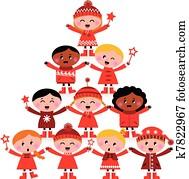 weihnachten, multikulturell, kinder, baum, freigestellt, wei?
