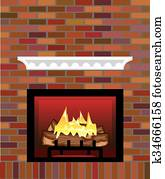 Brick Fireplace vector