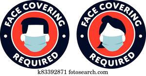 face covering required icons sign covid-19 protection