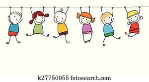 glücklich, kinder, spielender