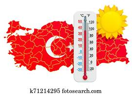 Heat in Turkey concept. 3D rendering