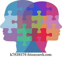 mann- frau, gesicht, leute, problem, puzzel