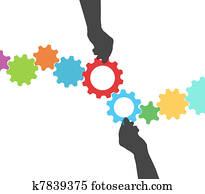People hands technology gear process management