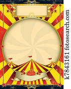 Circus vintage red yellow poster