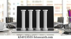 Four classical pillars on a computer, office background. 3d illustration