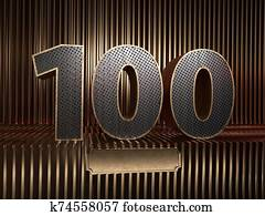 number 100 with small holes