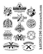 set of barbershop logos, signage