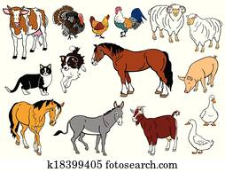 set with farm animals