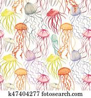 Watercolor vector jellyfish pattern