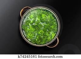 broccoli cooked in a saucepan