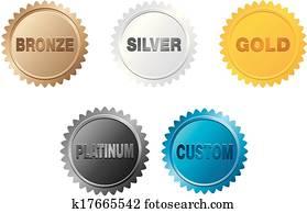 bronze, silver, gold, platinum badge
