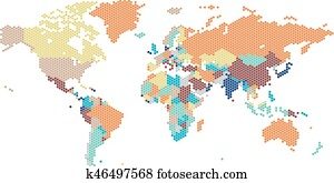 Brown detailed World map Clip Art | k15957687 | Fotosearch
