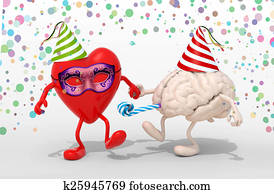heart and brain with arms, legs on carnival party
