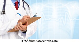 Medical doctor with stethoscope writing. Health care.