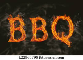 Word bbq with flaming fire effect