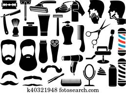 barber salon or shop vector icons
