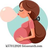 Bubble Gum Pregnant Woman Vector Cartoon