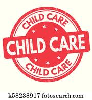 Child care grunge rubber stamp