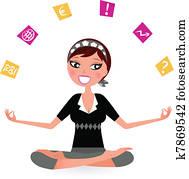 emsige, frau, mit, notizen, schwierig, to, entspannen, in, joga, position., vektor, früher, abbildung