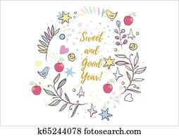 Holiday greetings illustration Rosh Hashanah