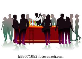 Bar with bartender,