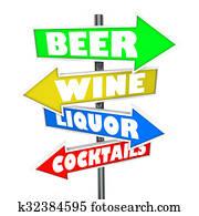 Beer Wine Liquor Cocktails Alcohol Signs Bar Nightclub Store Market
