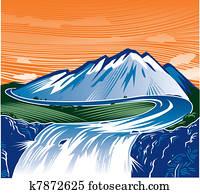 berg, wasserfall
