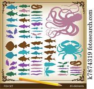 fische, schalen, und, meeresfrüchte, silhouetten
