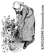 Horiculture vintage illustration, woman working in the garden with hoe