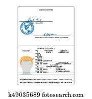 Vector Blank open passport template  International passport