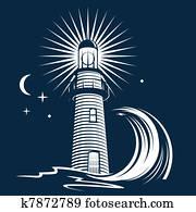 leuchtturm, &, welle