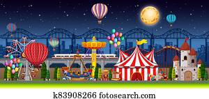 Amusement park scene at night with balloons and moon in the sky