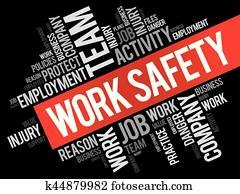 arbeit, sicherheit, wort, wolke, collage