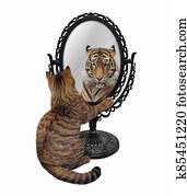 Cat near metal oval mirror