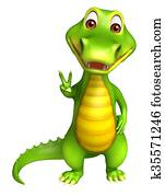 cute Aligator cartoon character with assining victory