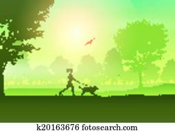 Female jogging with dog in countryside