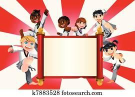 karate, kinder, spruchbaender