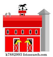 pferd, scheune, und, siloanlagen