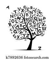 Art tree with letters of alphabet for your design