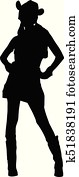 Cowgirl Silhouette Illustration