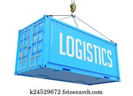 Logistics - Blue Hanging Cargo Container.
