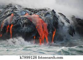 Multiple Lava Flows, Ocean, Steam,